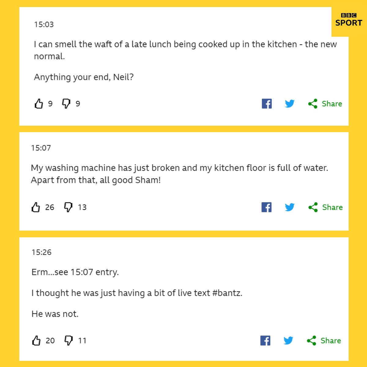 Well you did ask, @ShamoonHafez... 😅 The joys - and the perils - of working from home summed up in one #bbcfootball live text exchange. Updates as we get them (and some on the football too): bbc.in/2ZVfPP5