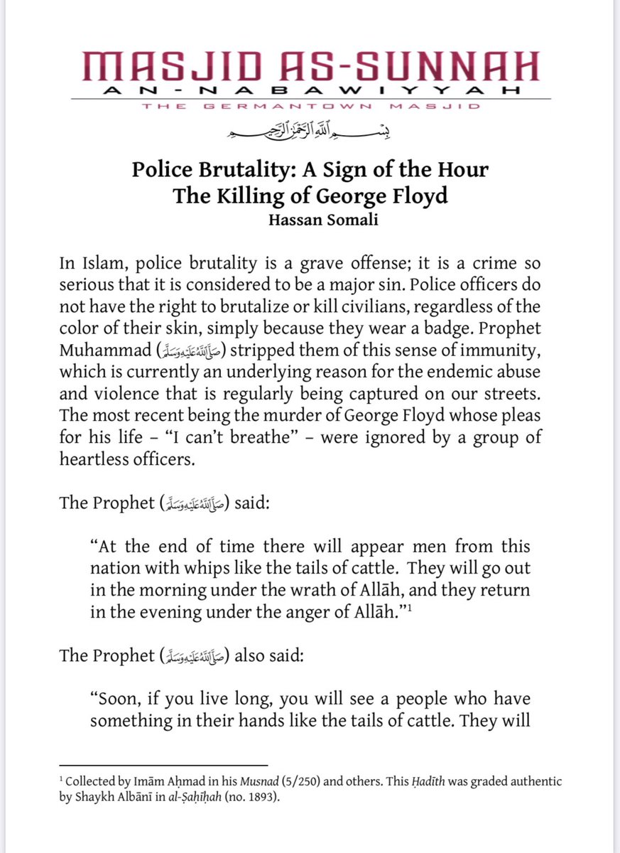 The Killing of George Floyd   Police Brutality: A Sign of the Hour   An Islamic Perspective   Injustice can only be conquered with justice