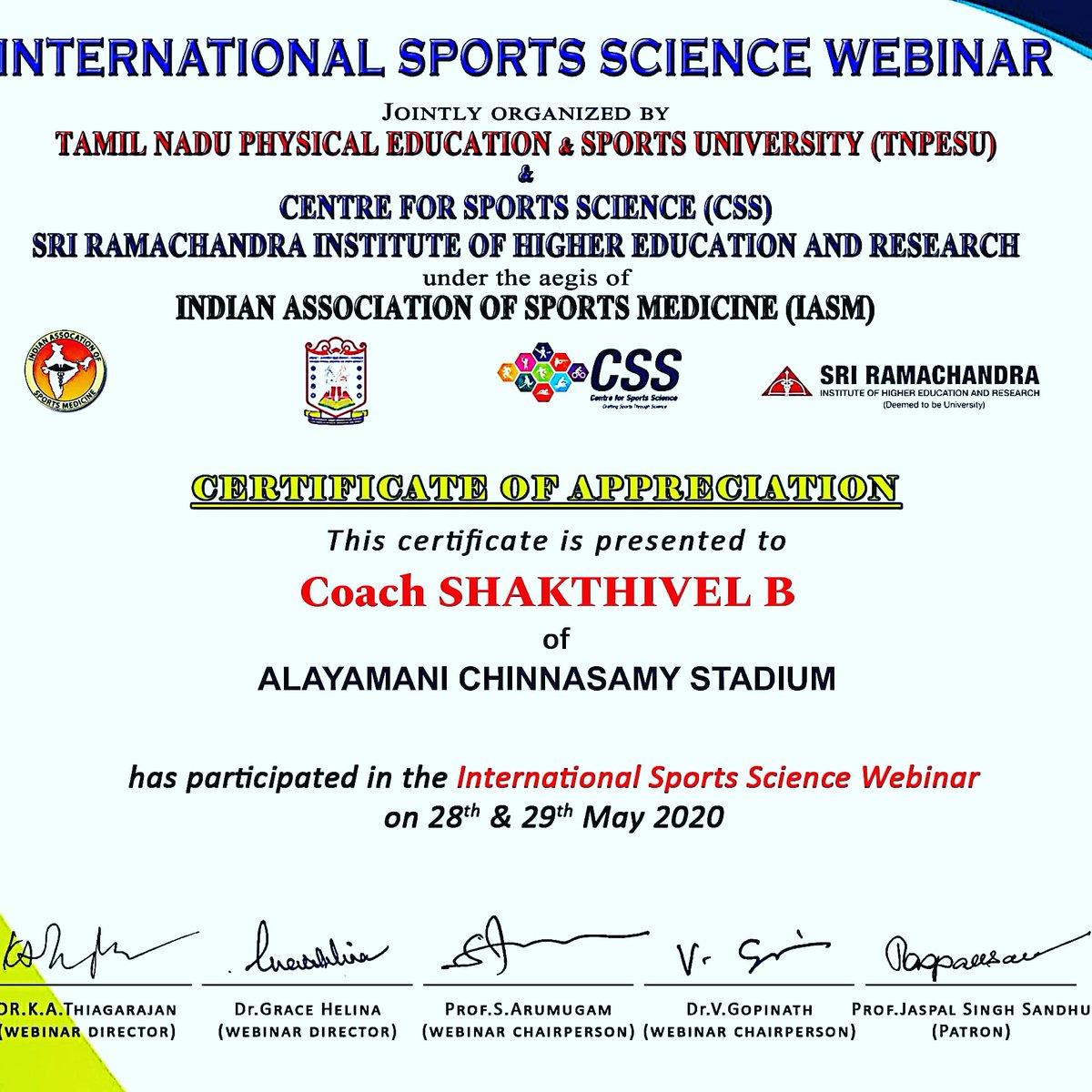 #International Sports Science webinar@ online amazing# pic.twitter.com/GJOraje3GF