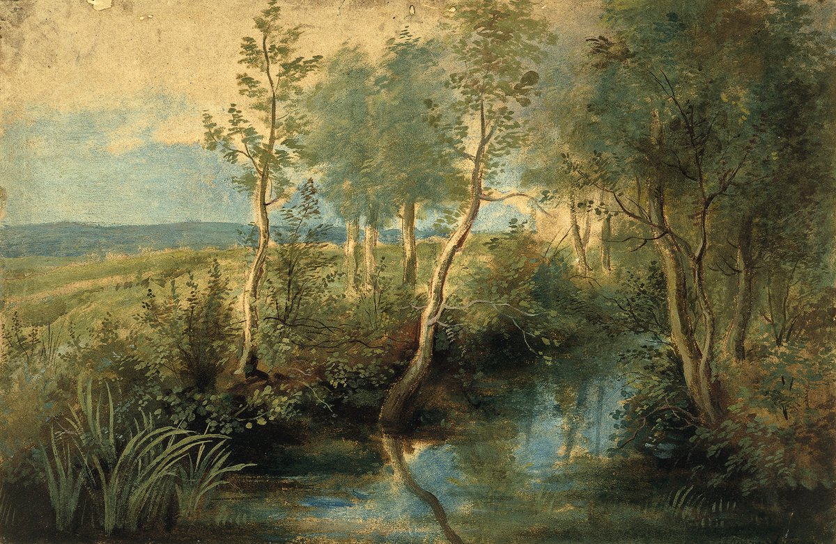 😌🌳🏞 We're transported to the calm of the countryside by this watercolour drawn by Baroque artist Sir Peter Paul Rubens, who died #onthisday in 1640