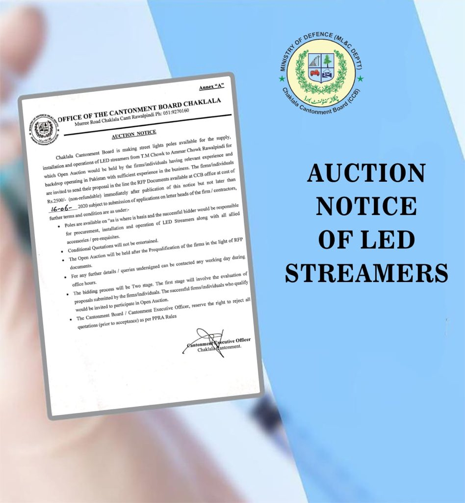 :: Auction Notice of LED Streamers ::  #CBCARE #CCB #Chaklala #Rawalpindi #Rawalpindians #LED #Streamers #AuctionNoticepic.twitter.com/XEMzGaH4QF