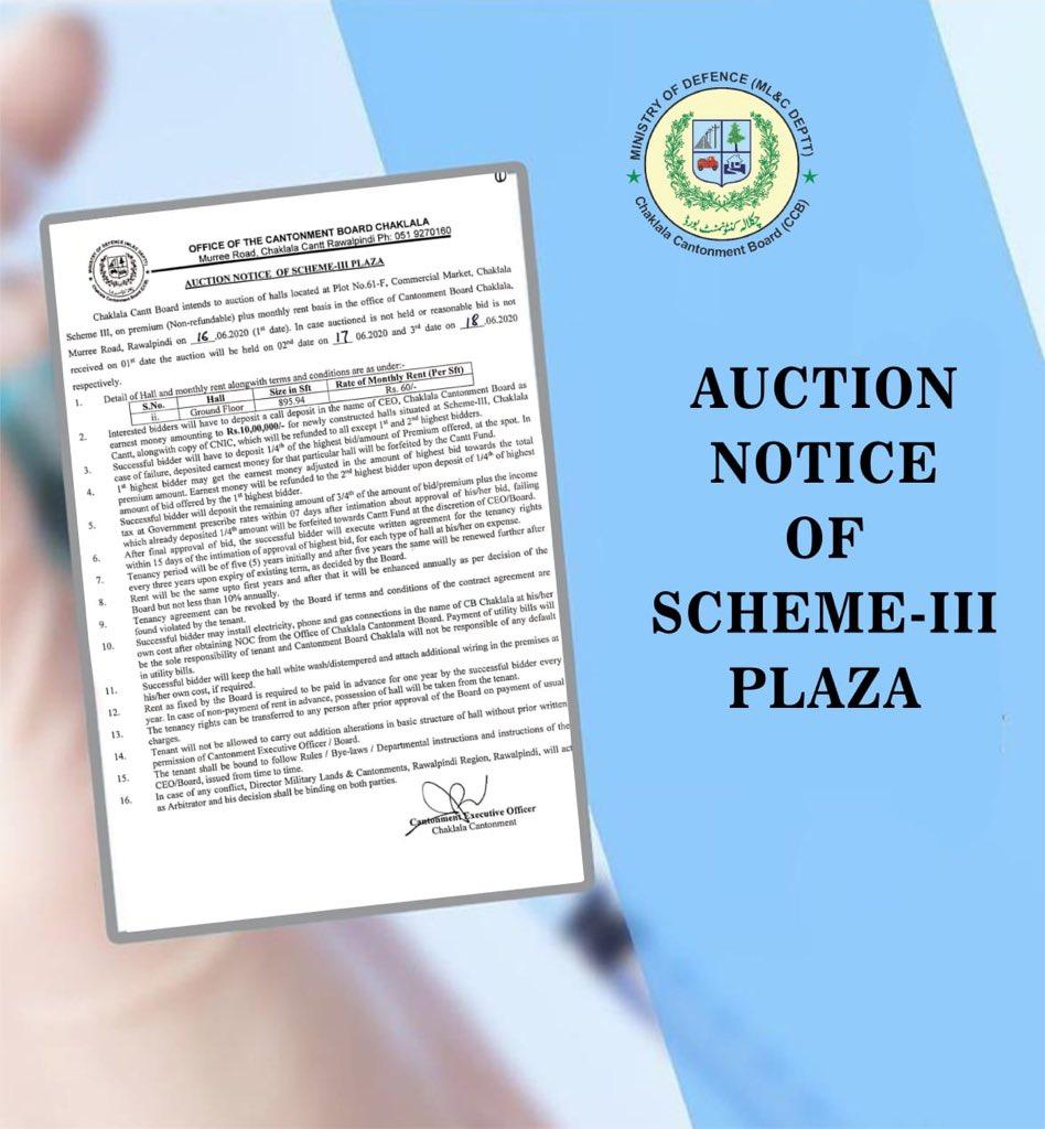 :: Auction Notice of Scheme-III Plaza ::  #CBCARE #CCB #Chaklala #Rawalpindi #Rawalpindians #Scheme3 #AuctionNotice #Commercialpic.twitter.com/jLfZkHhyGe