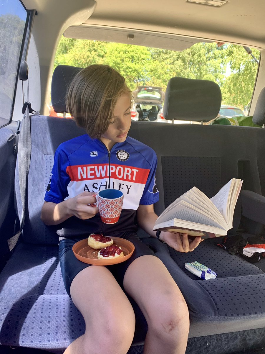 """""""Cup of tea, homemade scone and a book, perfect!"""" Lovely morning at #CannockChase, followed by a little picnic in the campervan.  @BBSEnglishDept @aqualate_bbs @scribble38 https://t.co/HWr9RTxRuy"""