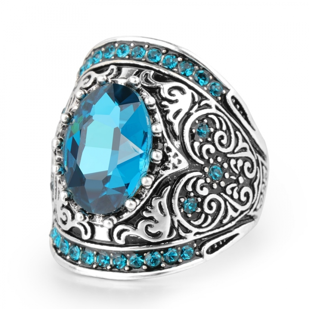 Women's Blue Ice Crystal Ring #food #tflers