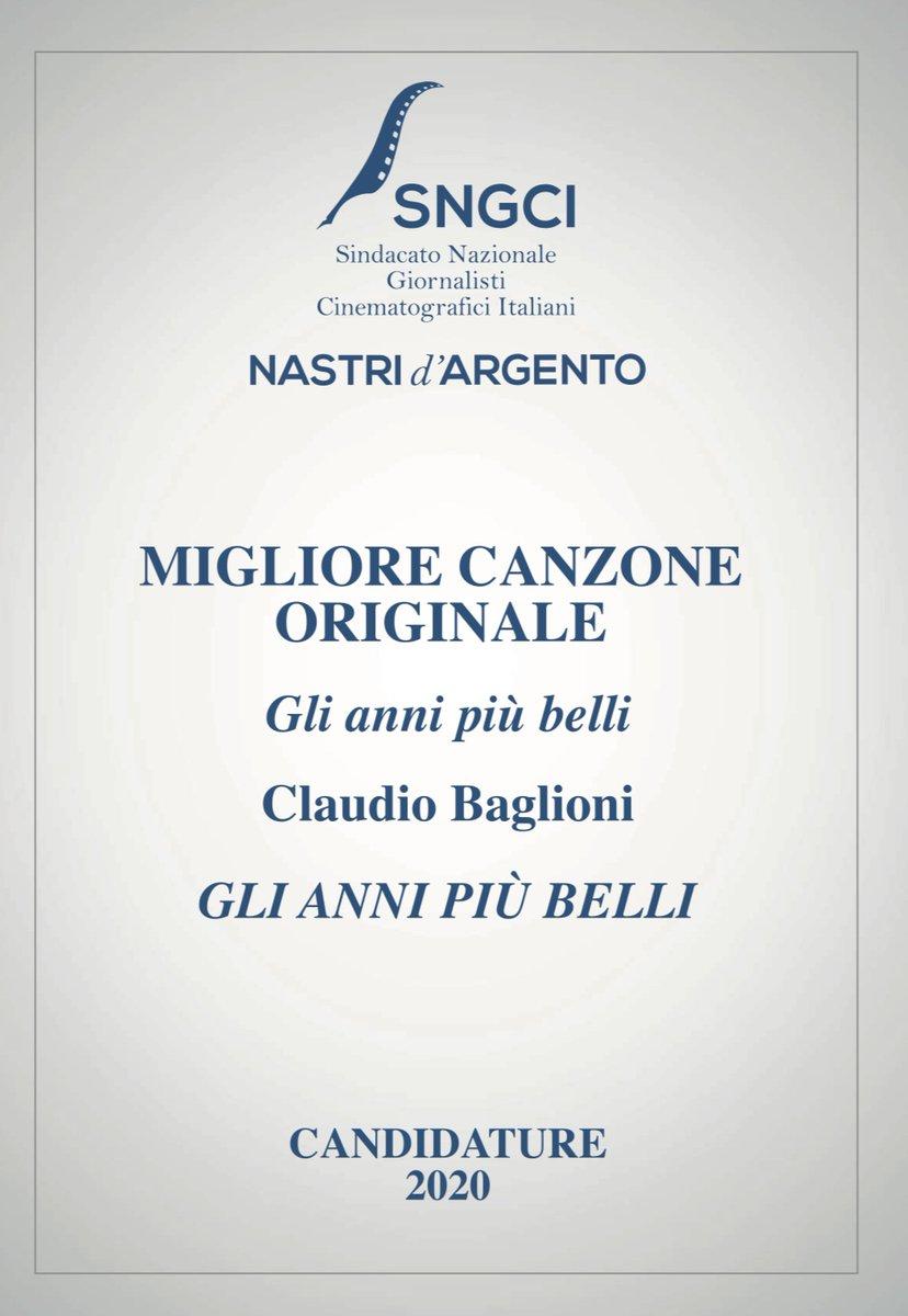 GLI ANNI PIÙ BELLI è stata candidata ai Nastri d'Argento 2020 come Migliore Canzone Originale. @GabrieleMuccino  #SNGCI #nastridargento  #GliAnniPiùBelli https://t.co/8ggej8LJAf