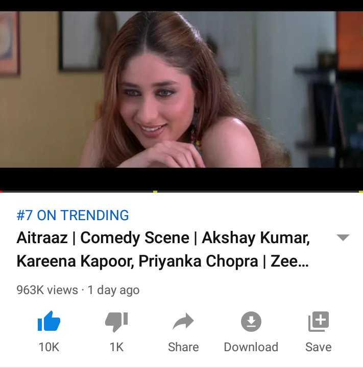 A Comedy Scene From #Aitraaz  Movie Featuring @akshaykumar #KareenaKapoorKhan Trending #7 on YouTube,  It Was Trending #1 For A Long Time   This Movie Was ❤ #AkkiBebo 👌💗