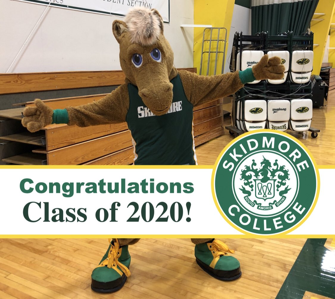 Congrats to the Skidmore Class of 2020 as they celebrate their virtual commencement today! You all worked so hard to get to this point and I can't wait for all of you to come back on campus to celebrate! Thanks for the memories! 🎓🎉 #Skidmore2020 https://t.co/J3kyuPvCYh