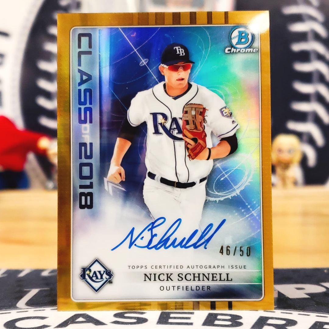 Nice GOLD Nick Schnell Class of 2018 ink /50 from our ultimate Rookie Prospect Baseball #groupbreaks this week! #mlb #bowmanbaseball #nickschnell #nickschnellcards #tbrays #collectbaseballcards #thehobbypic.twitter.com/svNGrtS95D