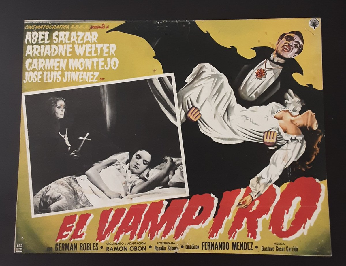 A young woman begins to suspect that her apparently ageless aunt has fallen under the spell of a vampire. 1957 Mexican lobby cards #horror #cine #moviepic.twitter.com/abMI2Mglub