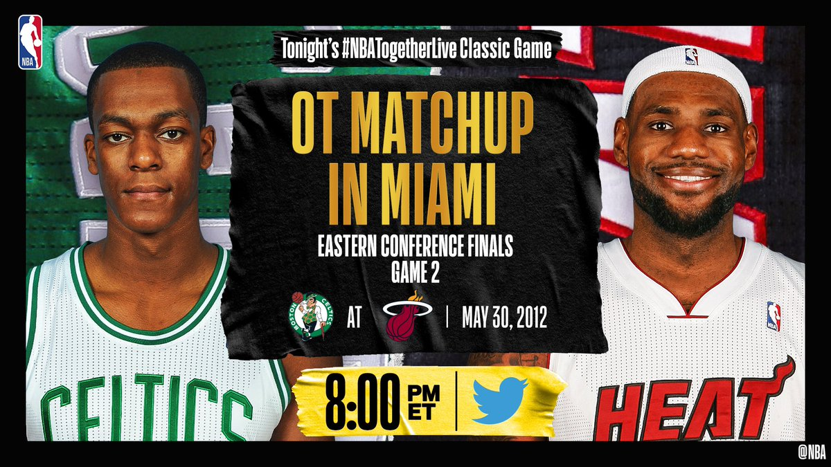 Tonight's #NBATogetherLiveClassic Game will feature @celtics / @MiamiHEAT Game 2 of the Eastern Conference Finals (5/30/2012)!  We're streaming it live & watching together here on @NBA at 8:00pm/et. https://t.co/WbyyEkvqv3
