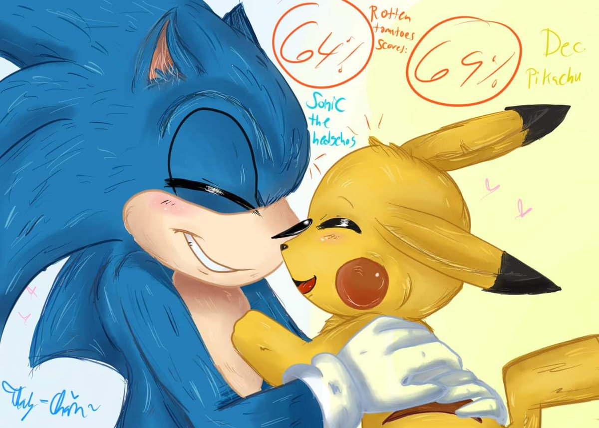 Movie Sonic and Detective Pikachu They are good friends #SonicTheHedgehog #Pikachu #sonicthehedgehogmovie #DetectivePikachu #fanart