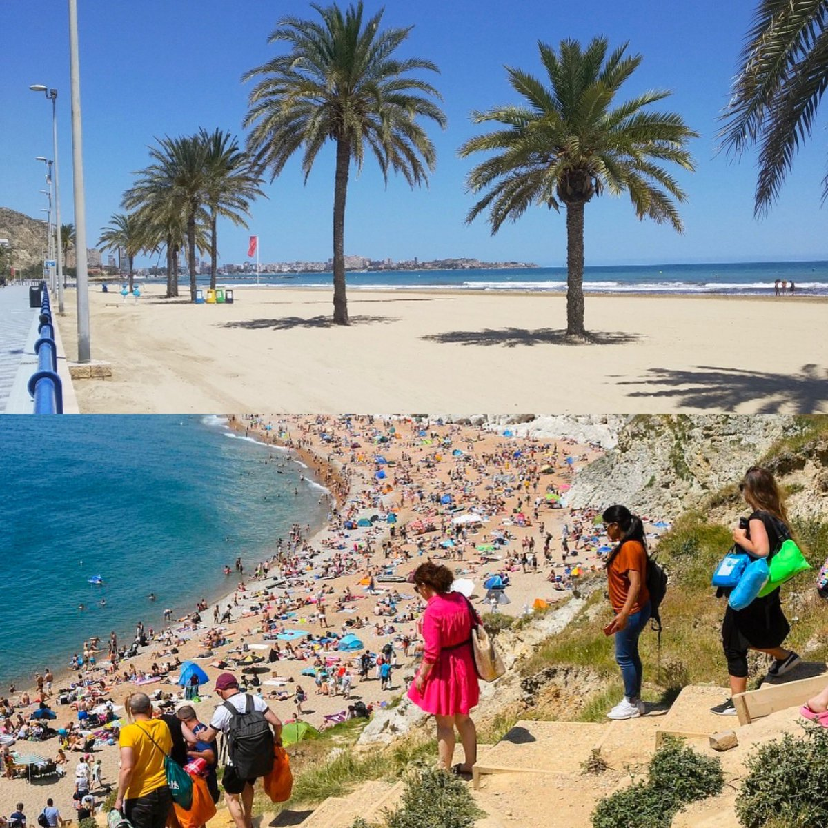 Beach in southeast Spain today versus beach in southwest England   #SecondWave #SocialDistancing pic.twitter.com/mgeU5AYhRT