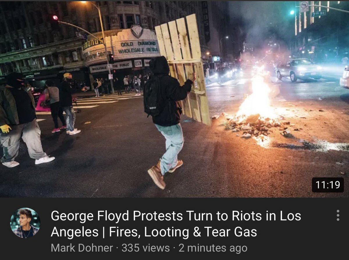 full video of the riots in Los Angeles last night #GeorgeFloydProtests #LosAngeles Fires, looting, tear gas, rubber bullets. youtu.be/XITwo1HQ9eI