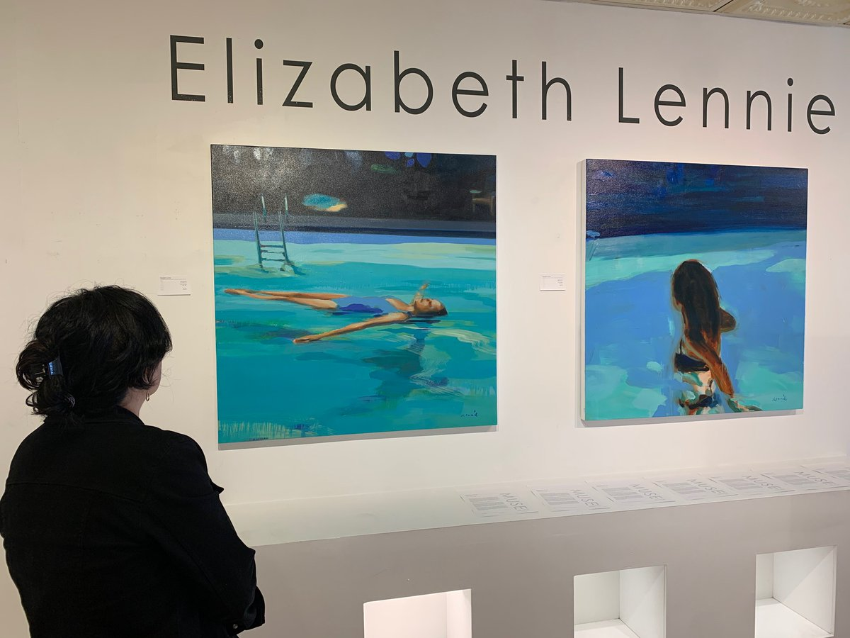 Drop by to see Elizabeth Lennie's show Aqua Vita..... . . . #swimming #pool #contemporary #artist #painting #oil #reflection #night #floating #blue #contemporary #elizabethlennie #toronto #canadian #musegallery_toronto #exhibition #aquavita