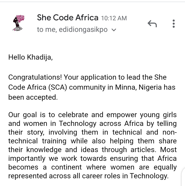So last week I got this wonderful email, I got accepted as city chapter lead for @SheCodeAfrica   Today, I had a wonderful time with wonderful ladies across the continent at the #SCAChaptersOnboarding  Looking forward to making a change  #WomenWhoCode @Kolokodess<br>http://pic.twitter.com/fS37VE32rg
