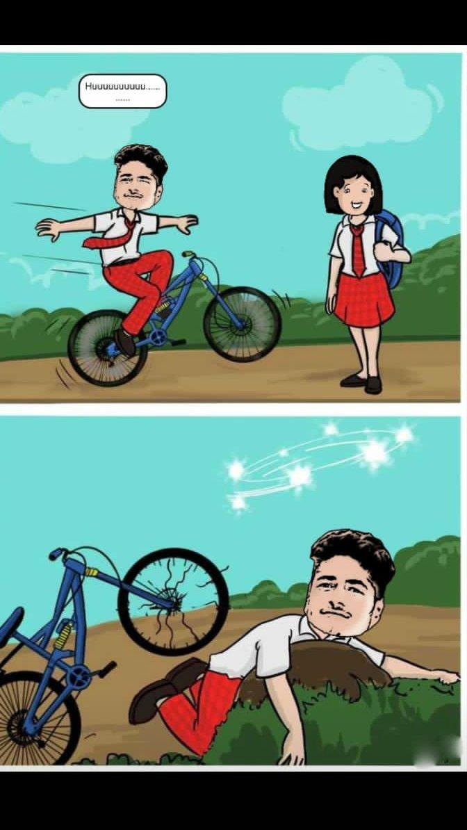 When i tried to impress my classmate with my *khatara* cycle. Yaaaaaaaaa huuuuuuuuuu #cartoon pic.twitter.com/29wPq3RKrb