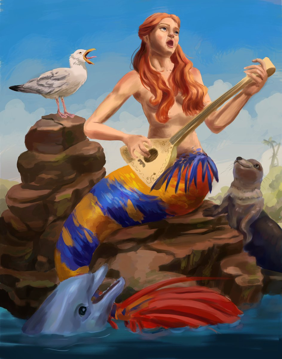 Mermaid Gill OC is finally done (only minor tweaks are left to be added). So far my favorite latest portfolio piece that I'm very proud of 😊 #mermay #mermay2020 #marinelife #fantasy #fantasyart #characterart #colorful #digitalart #redhair #balalaika #music #mammals #CorelPainter