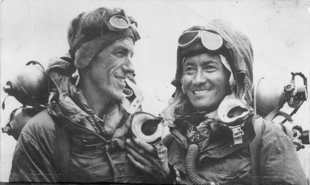 29 May 1953: Edmund #Hillary and Tenzing Norgay of Nepal are the first to reach Mt. #Everest. Hillary is Knighted while #Norgay is awarded the George Medal.  #sherpa #history #mountaineering #ad https://t.co/snTzQpgik2 https://t.co/5JiLMwipcV