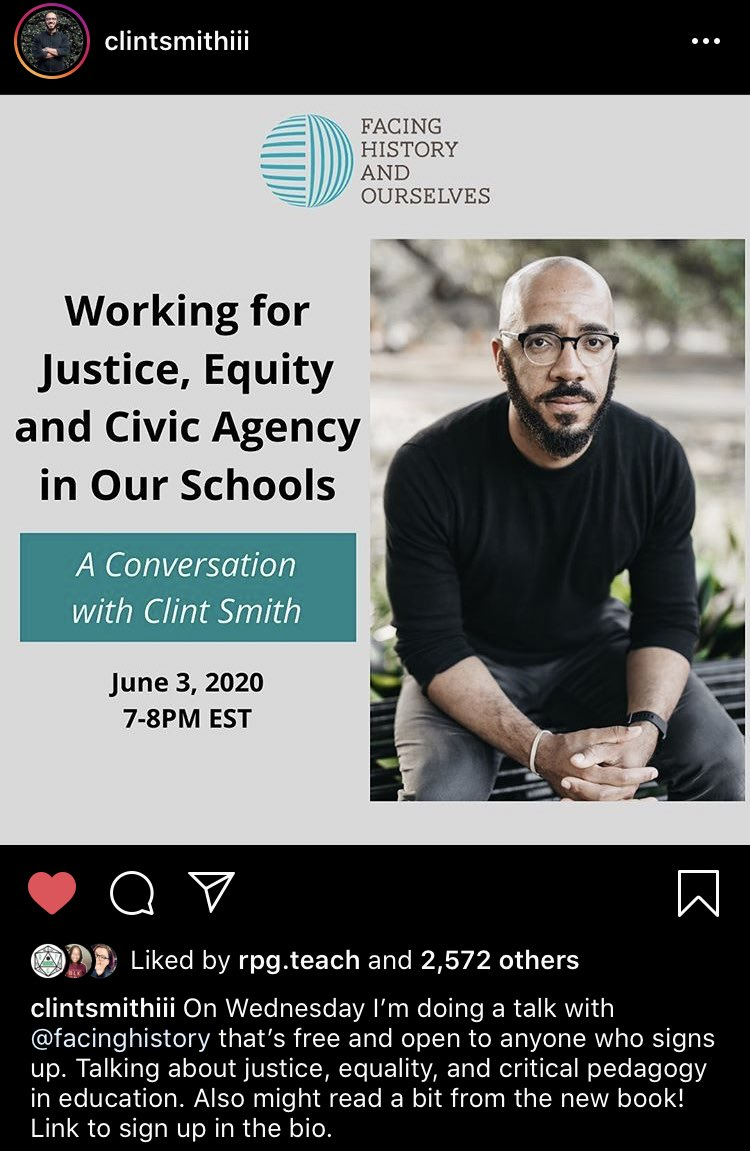 Hi all! I found out that @ClintSmithIII is part of a talk with @facinghistory on Wednesday June 3rd about Justice, Equity and Civic Agency in our schools. Thank you to my fellow @BCECTA committee member Cassia for sharing about it! Sign up here: https://t.co/lGqILy0rQm #bcedchat https://t.co/5ILWhfsSsd