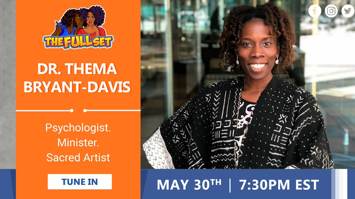 Tonight 7:30 PM EST @thedididelgado sits with @drthema at https://t.co/WbyLtprIZ4 - Dr. Thema Bryant-Davis is a licensed psychologist, ordained minister, and sacred artist who has worked nationally and globally to provide relief and empowerment to marginalized persons. https://t.co/D7hqU0rKag
