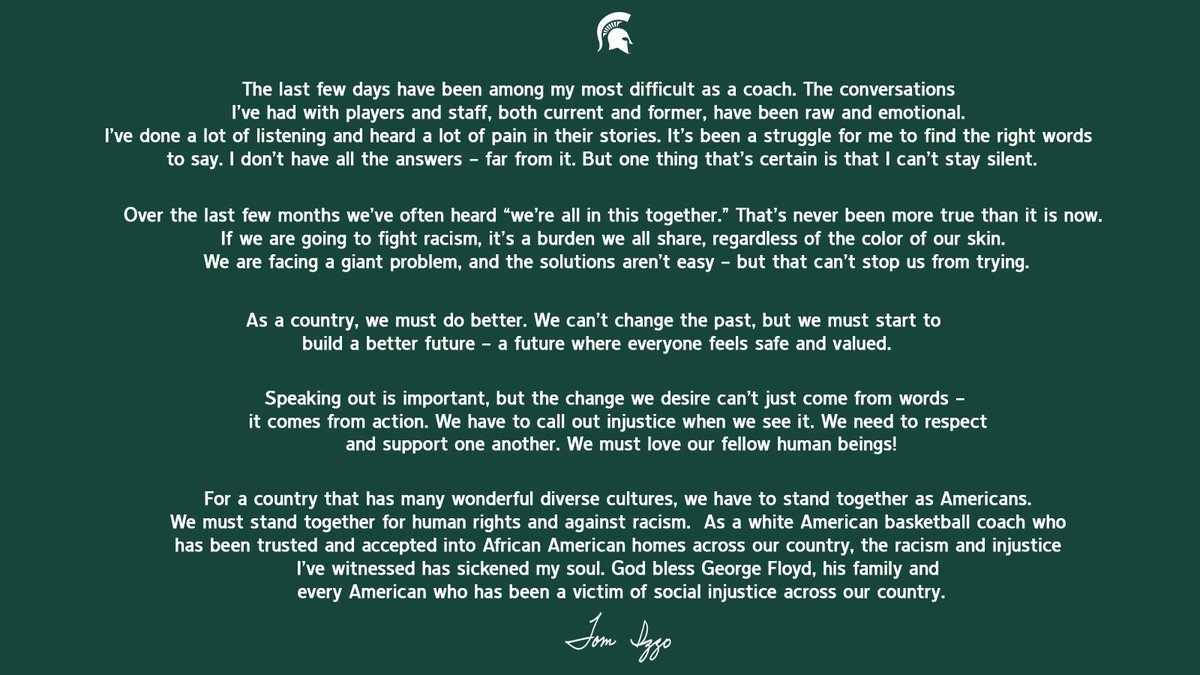 A statement from Coach Izzo: