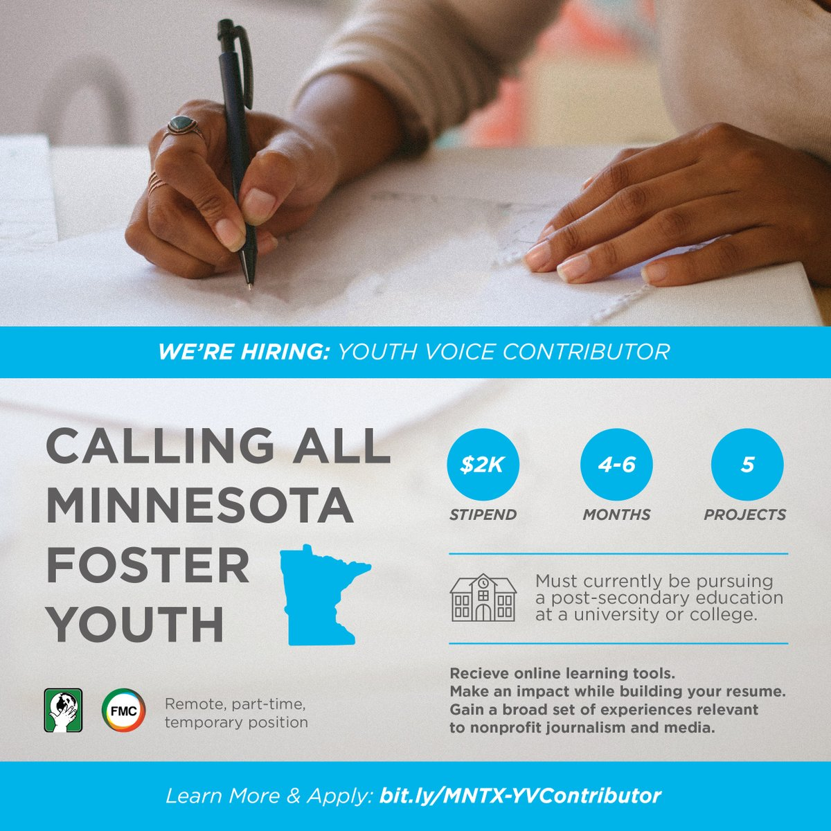 Do you know a #fosteryouth based in Minnesota or Texas interested in pursuing a career in #journalism? Pass this #jobopportunity on to them! https://t.co/xSQdCpX9fS https://t.co/I6ARxtwAYi