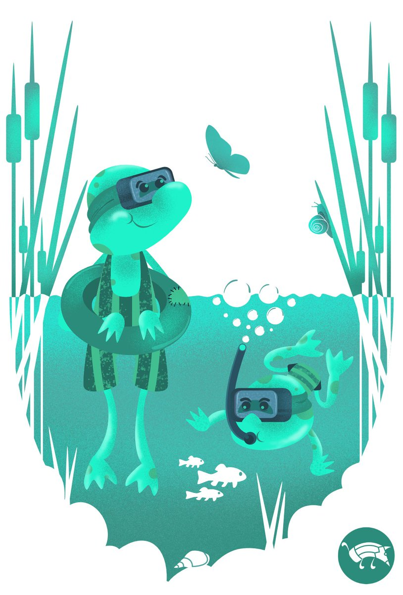 Cute frogs swimming in the pond with diving equipment Either underwater or in the surface the pond offers a lot of adventures for the cute frogs. #pencildog #illustration #digitalillustration #vector #vectorart #vectorartwork #funny #frog #frogs #cute #snorkel #mask #underwater