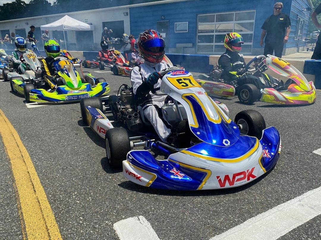 Phil Arscott on pole and won the prefinal in the @WillPowerKart at @GoProMotorplex ... Starting P1 for the final.