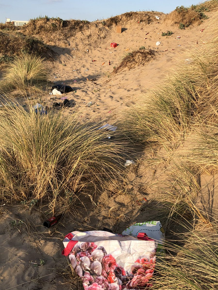This is so depressing. The sand dunes have become party venues, with inevitable consequences. And, no, the social distancing rules obviously aren't being adhered to either.