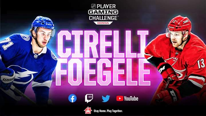 NHL Player Gaming Challenge is back! Watch Tampa Bay Lightning forward Anthony Cirelli take on the Carolina Hurricanes very own, Warren Foegele. 👍👍👍👍👍👍👍👍👍👍👍👍👍👍👍👍  See it all at 3p ET on our Twitch, Twitter, YouTube and Facebook, presented by Honda. #HockeyAtHome https://t.co/7bjkDSZ2rS