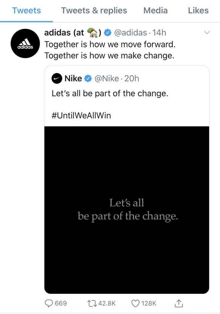 RT @EviDiakou: Όταν η #adidas κάνει rt τη #nike το λες και ιστορική στιγμή! https://t.co/2Qmdce3qsi