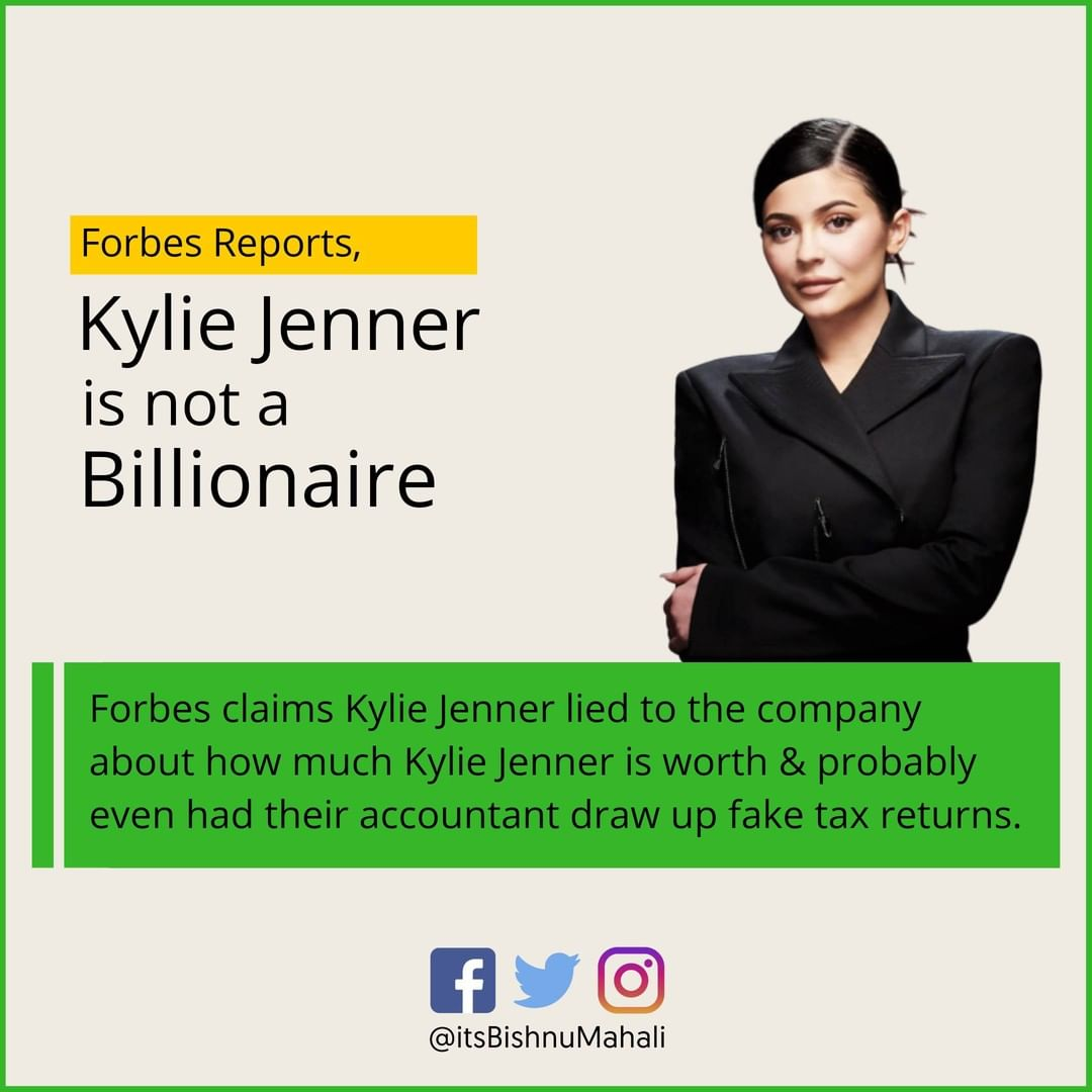 Forbes report says Kylie Jenner was inflating her net worth! . . . . . #kyliejenner #kyliejennermakeup #mediapersonality #businesswoman #cosmetics #kyliecosmetics #company #founder #owner #forbes #businessnews #marketingnewspic.twitter.com/Umw5ionECy