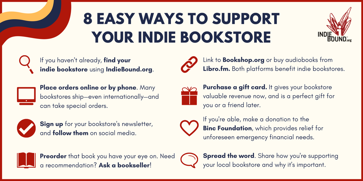 Our beloved indie bookstores are still hurting through this difficult time. If you're looking for ways to help, here are 8 easy ways! 😍 #SupportLocalNow https://t.co/FtlLGIZKia