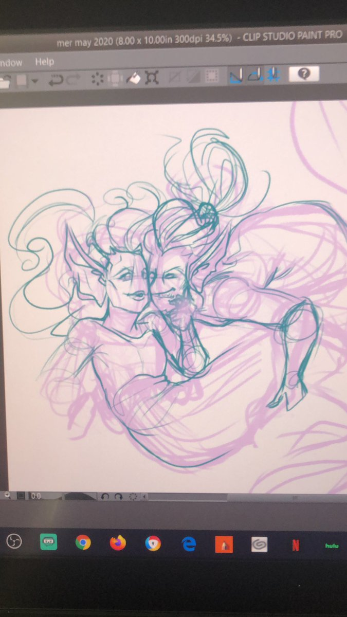 Here to brighten people's day a bit more, here's a work in progress of two mermaids in love. Still a very rough sketch and need to work on the expressions more. But so far I'm having a blst drawing this #art #mermay #sketch #digitalart #drawingpic.twitter.com/fD2dJZPNGI