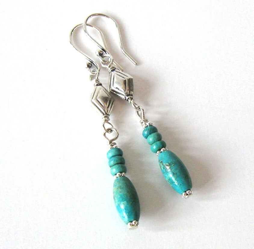 Turquoise Gemstone Earrings, Long Oval Barrel Beads. Sterling Silver Southwestern Style, Ear Wire Options https://etsy.me/2MwikNI #giftforwomen #jetteampic.twitter.com/OW8ZjbPUga