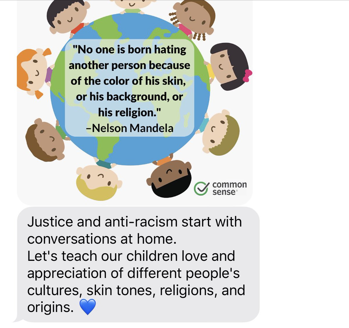"Thank you @CommonSense for sharing this resource in your app.This is a great conversation starter for many families.   ""Justice & Anti-Racism start with conversations at home."" @SueThotz https://t.co/m4qNpflPfQ"