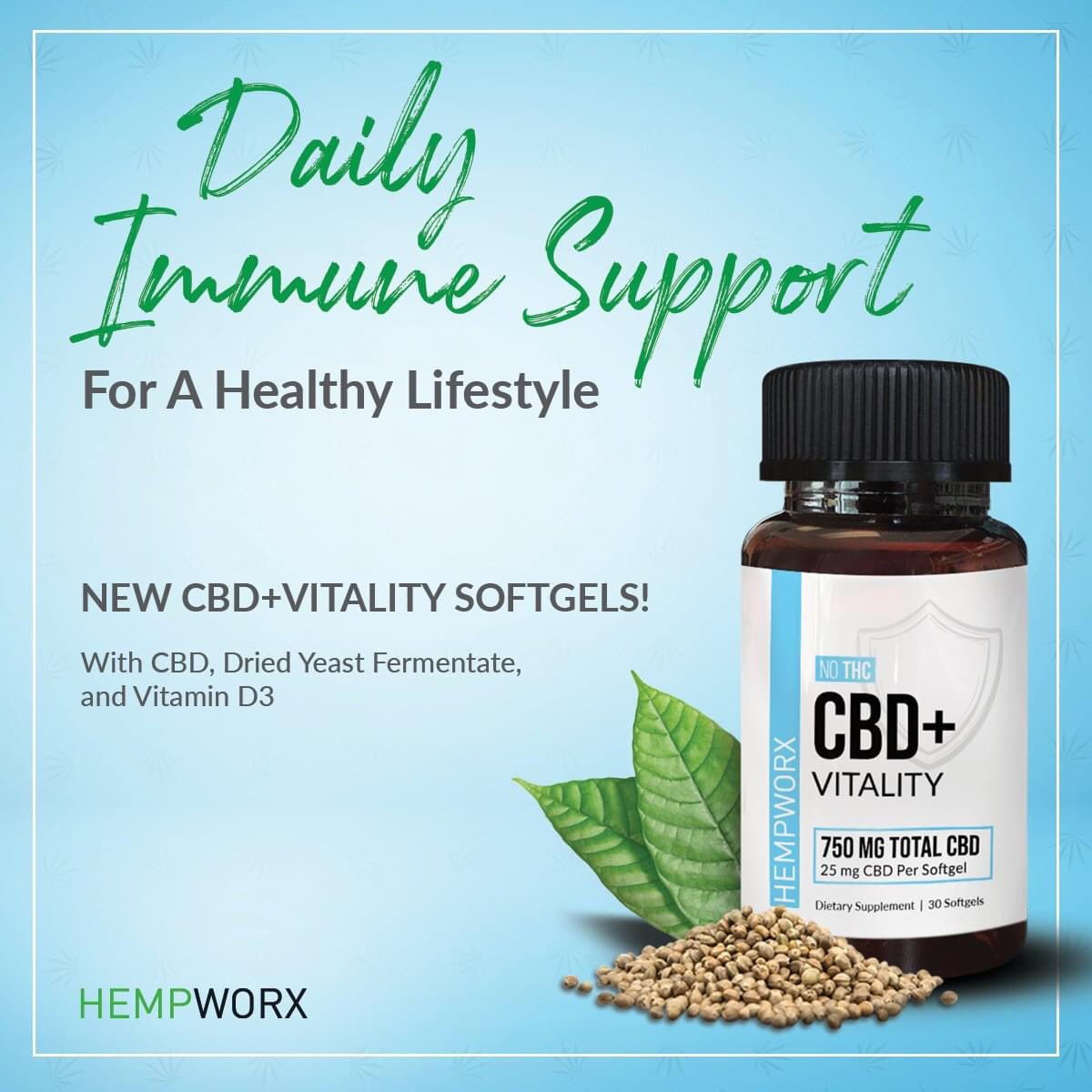 New Product Alert : CBD+Vitality Softgel Formulated for daily immune support, this softgel contains a unique combination of dried yeast fermentate (supports healthy immune function), Vitamin D3 (facilitates the metabolism of calcium and phosphorus) and Broad Spectrum CBD. <br>http://pic.twitter.com/8he35z9hM5