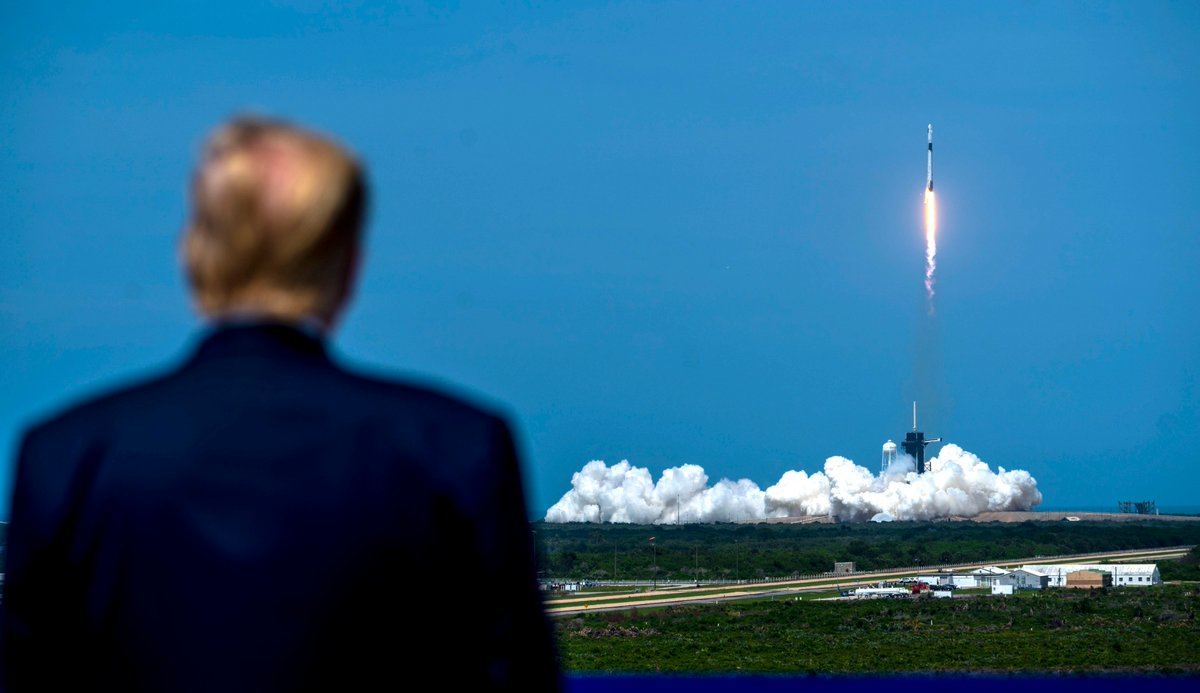 .@realDonaldTrump looks in as SpaceX Demonstration Mission 2 lifts off at Kennedy Space Center, FL.