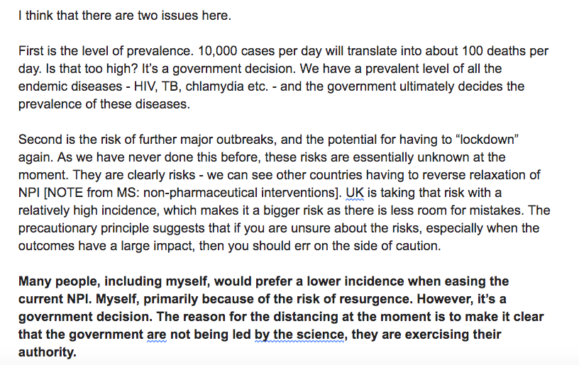 NEW: SAGE member tells @ObserverUK that the government is *not* being led by science in easing lockdown. It is exercising its authority. Graham Medley, prof of infectious disease modelling at @LSHTM, in his own words below (Ive added the bold): More in tomorrows @ObserverUK