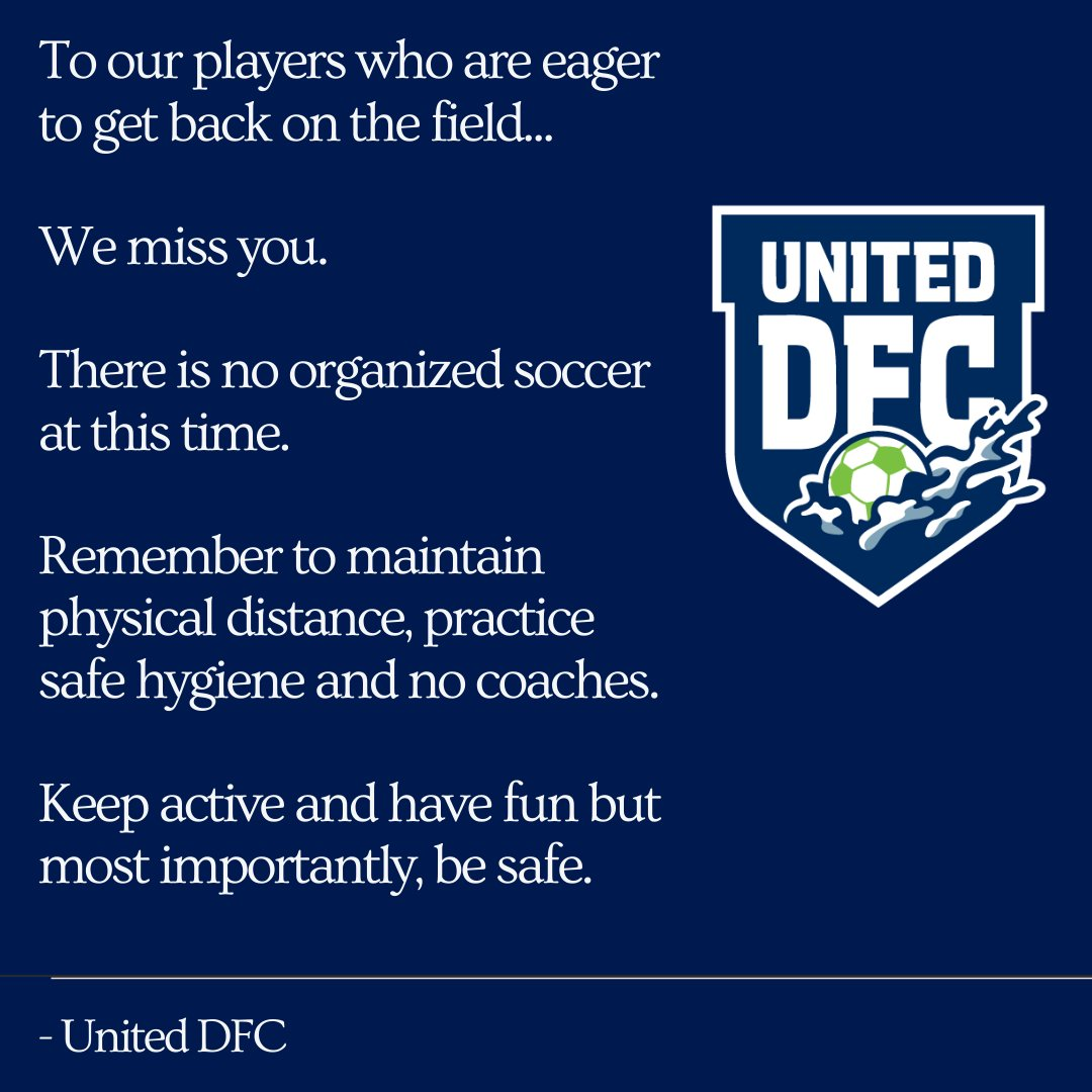 To our United DFC family, We miss you.  We are working hard to develop our Return to Play plan. Keep your eyes open for a survey that will be shared with you shortly via email. Please complete it. Your feedback is critical to informing our decisions. #StaySafe #WeNeedYou pic.twitter.com/gghHpOXoCj