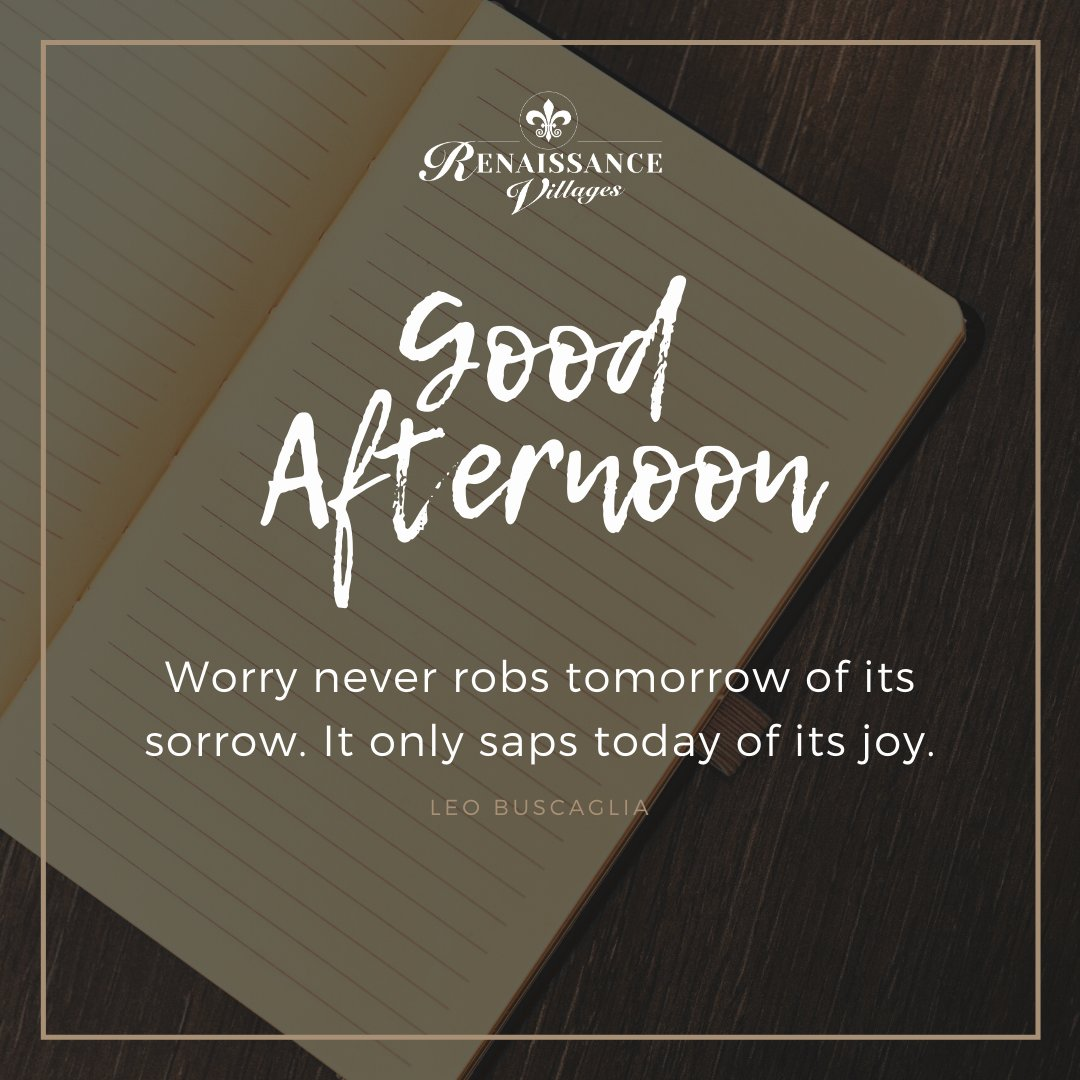Don't spend another minute on worry. http://renaissancevillages.compic.twitter.com/NvWKrgn9uK