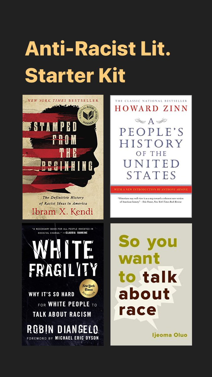 I've been getting a lot of questions from my non-Black friends about how to be a better ally to Black people. I suggest unlearning and relearning through literature as just one good jumping off point, and have broken up my anti-racist reading list into sections: