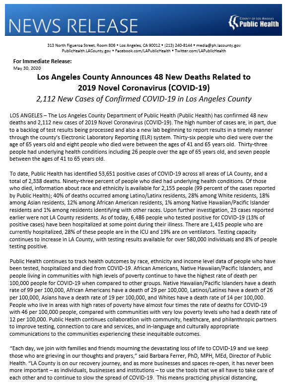 @lapublichealth Announces 48 News Deaths Related to #COVID19 and 2,112 New Cases of Confirmed COVID-19 in Los Angeles County. 53,651 Positive Cases Across All Areas of LA County, and a Total of 2,338 Deaths. View bit.ly/3ezYJKJ for more.