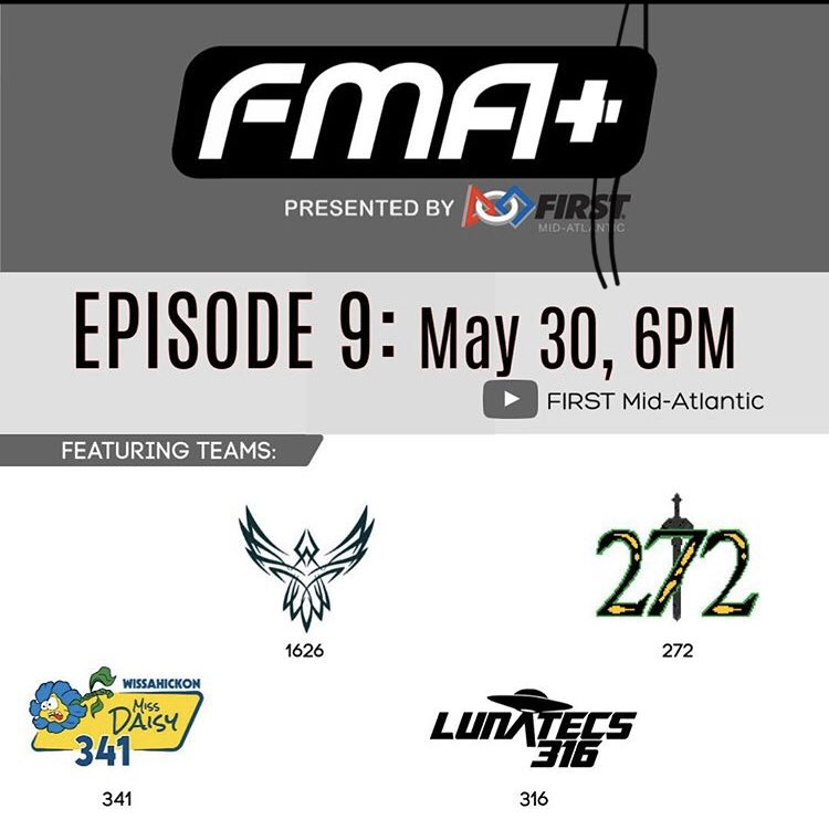 Tune into FMA+ tonight to watch our segment! We're so excited!!! @FIRSTMidAtl  @LC_STEM @LCCrusaders #omgrobots #yesyesyes https://t.co/bmOy7gAcPb
