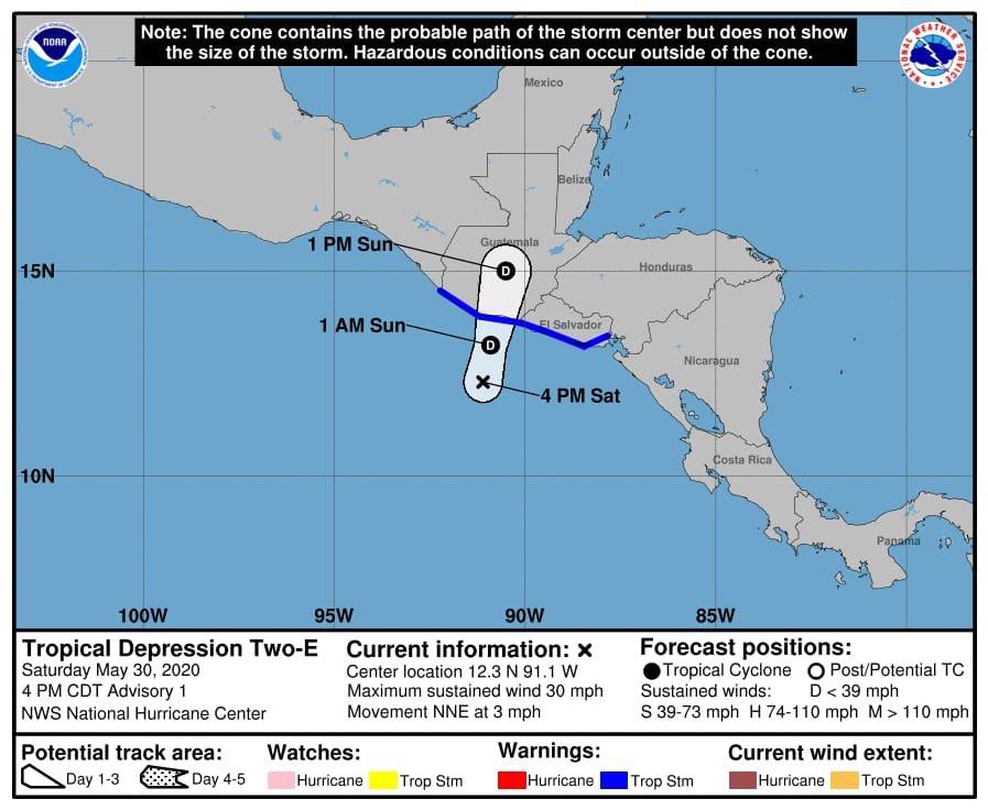 test Twitter Media - El Centro Nacional de Huracanes de Estados Unidos informa que el Sistema de Baja Presión se fortaleció y ahora es la Depresión Tropical 2-E internándose en el territorio nacional.Vía: @ConredGuatemala https://t.co/bEd2PK691d
