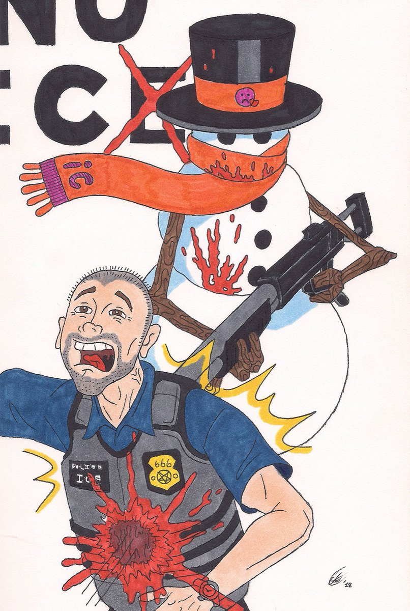"""This is the first drawing I ever did using my copic markers """"No Police/ICE"""" 2018 and forever"""
