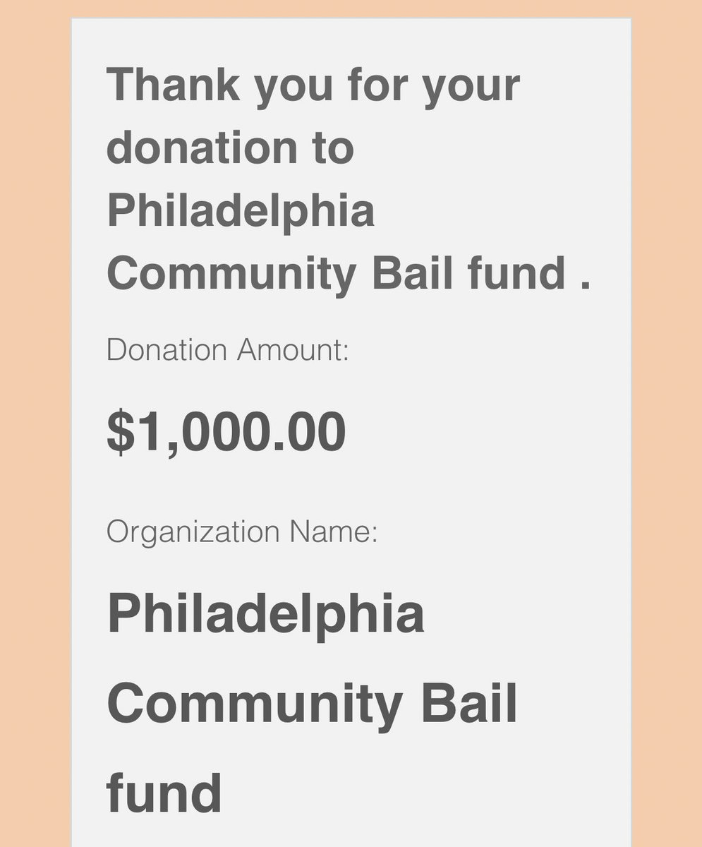 Just donated 1k to the Philly Bail Fund! All my friends who can help plz match me 🤝 https://t.co/KElGSwKVPV https://t.co/weOGC2cNth