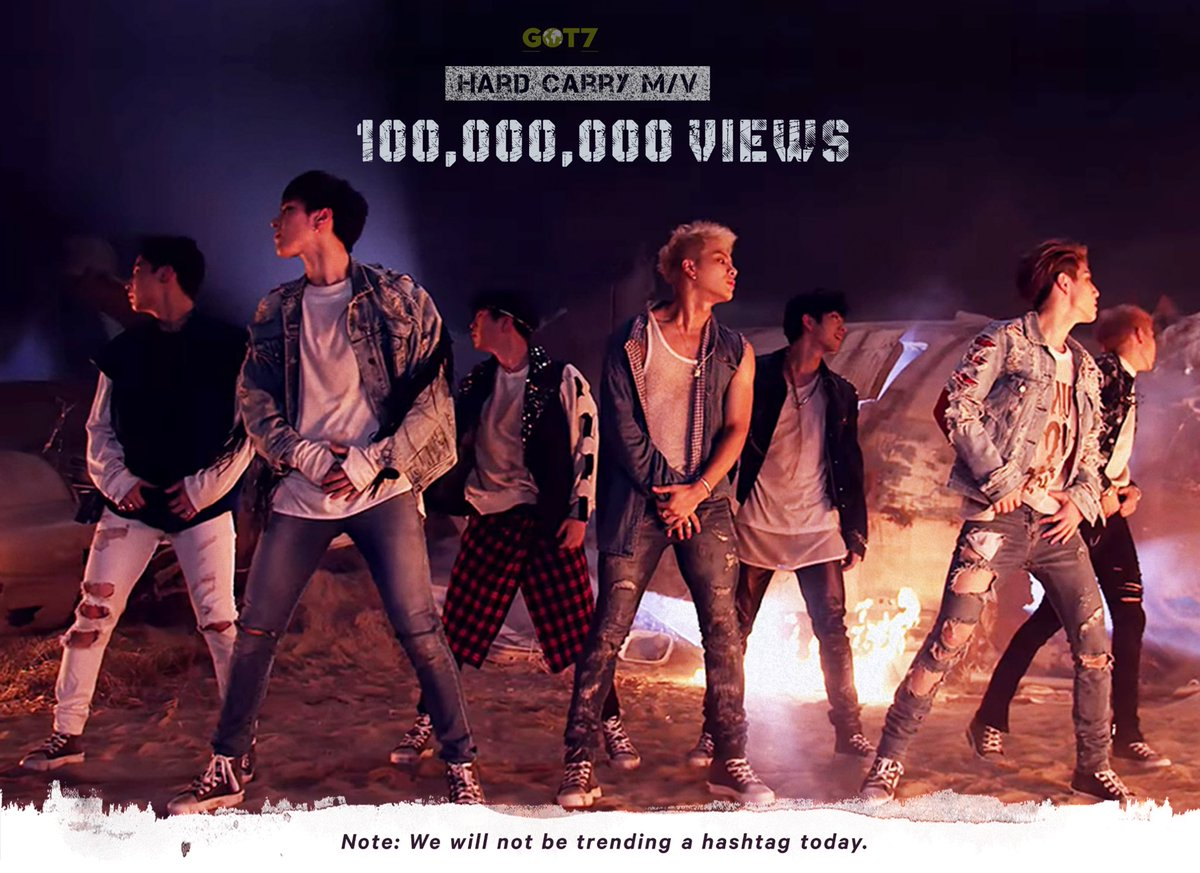 Hard Carry surpassed 100 million views becoming GOT7's 6th music video to reach this milestone!  Congratulations Ahgases we did it!  PLEASE NOTE: We will NOT celebrate this with a hashtag today! We will do this at a LATER date!  #GOT7  @GOT7Official<br>http://pic.twitter.com/EWDB5jgY5R