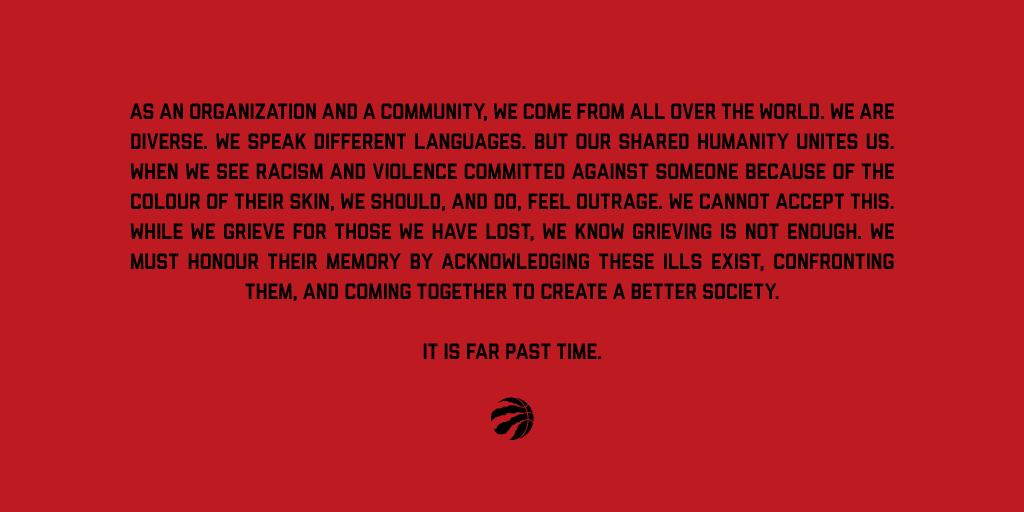 Statement From The Toronto Raptors: