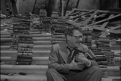 THE TWILIGHT ZONE (1959) Cinematography by George T. Clemens Directed by John Brahm From the episode Time Enough At Last Explore more shots in our database: ops.fyi/ShotsDB